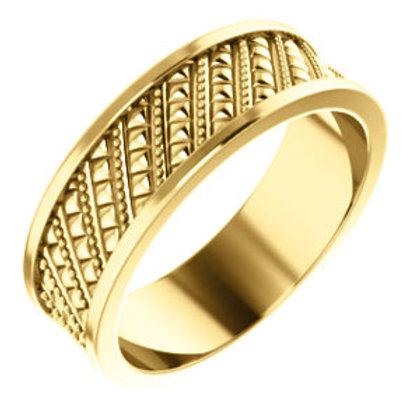 14K Yellow Gold Geometric Wedding Band