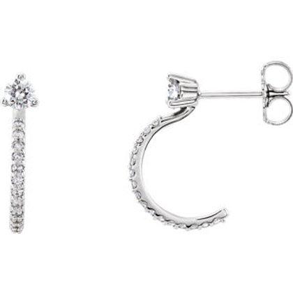 14K White Gold 1/3 CTW Diamond J-Hoop Earrings