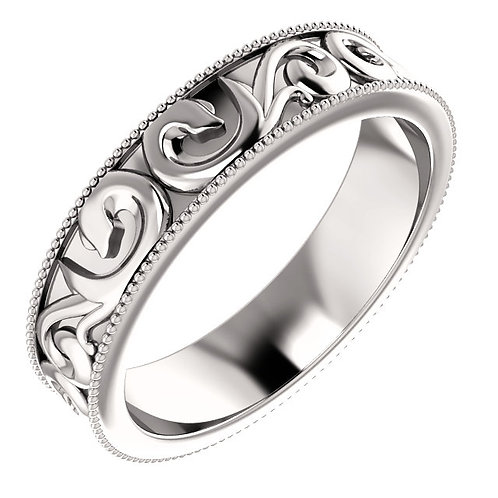 Platinum Sculptural-Inspired Milgrain Wedding Band