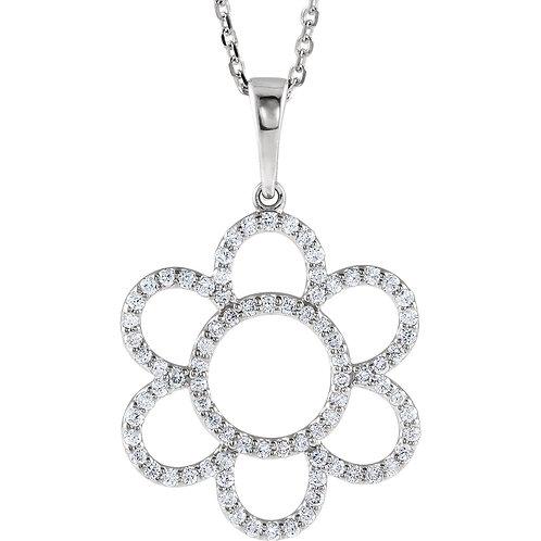 "14K White 3/8 CTW Diamond Flower 16"" Necklace"