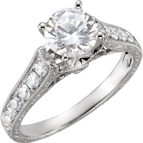 14K White 1/3 CTW Diamond Engagement Base Size 6