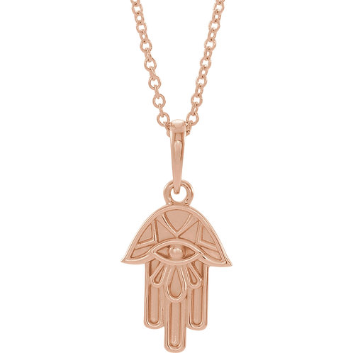 14K Rose Gold Hamsa Necklace