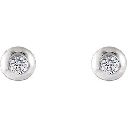 14K White Gold 1/8 CTW Diamond Domed Stud Earrings