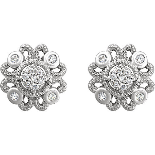 Sterling Silver 1/8  CTW Diamond Cluster Vintage-Inspired Earrings