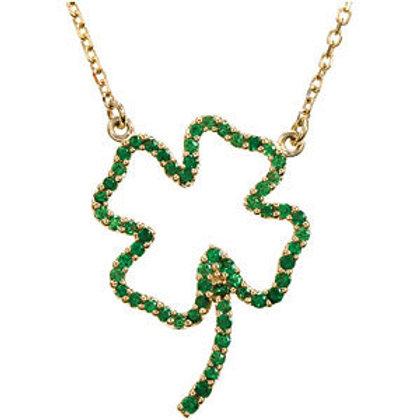 Genuine Tsavorite Garnet Clover Necklace