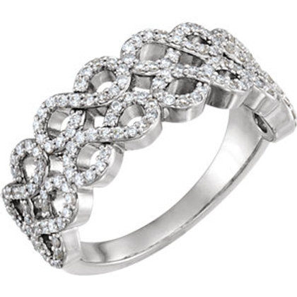 14K White 3/8 CTW Diamond Infinity-Inspired Ring