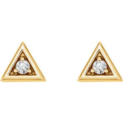 14K Yellow Gold 1/8 CTW Diamond Triangle Earrings