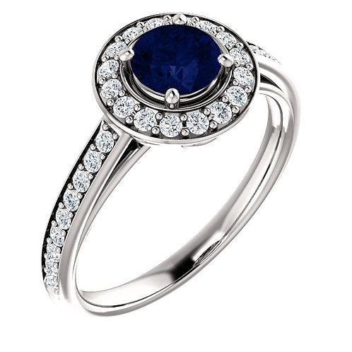 14K White Gold Created Blue Sapphire & 1/3 CTW Diamond Ring