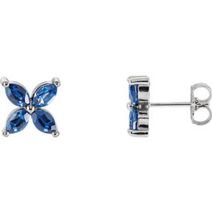 14K White Chatham® Created Blue Sapphire Earrings