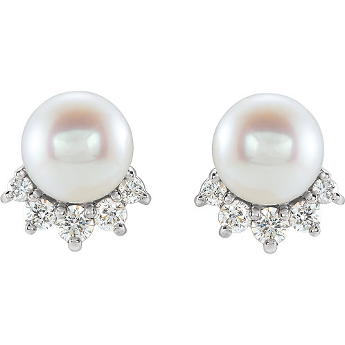 14K White Gold Freshwater Cultured Pearl and .08 CTW Diamond Earrings