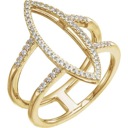 14K Yellow 1/4 CTW Diamond Geometric Ring