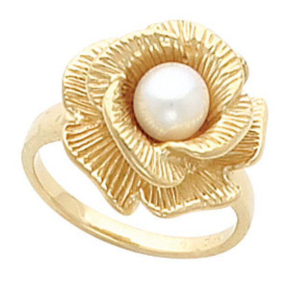 14K Yellow Gold Floral-Inspired Ring Mounting for 6-7.5mm Pearl