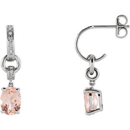 14K White Morganite & .05 CTW Diamond Earrings