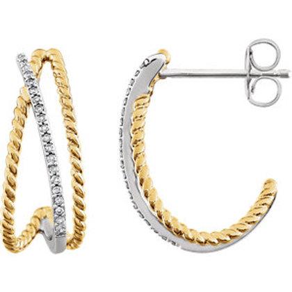14K White & 14K Yellow Gold Plated 1/10 CTW Diamond Earrings