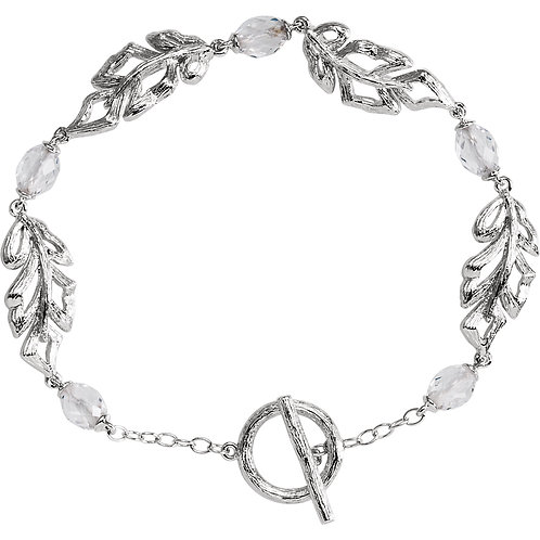 "Sterling Silver Clear Quartz Leaf 7"" Bracelet"