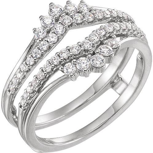 Platinum 1/2 CTW Diamond Accented Ring Guard