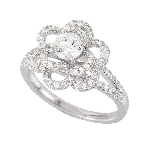 14K White 5.25mm Round 1/2 CTW Diamond Semi-Set Engagement Ring