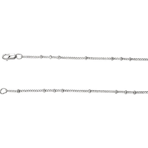 "Sterling Silver 1.3mm Beaded Curb 18"" Chain"