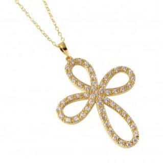 Open Infinity Round Cross Necklace