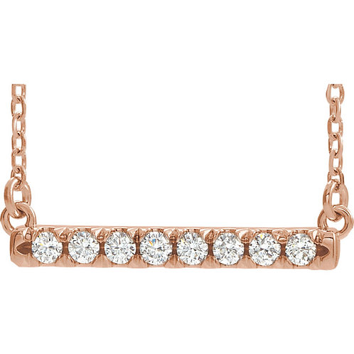 Diamond French-Set Bar Necklace