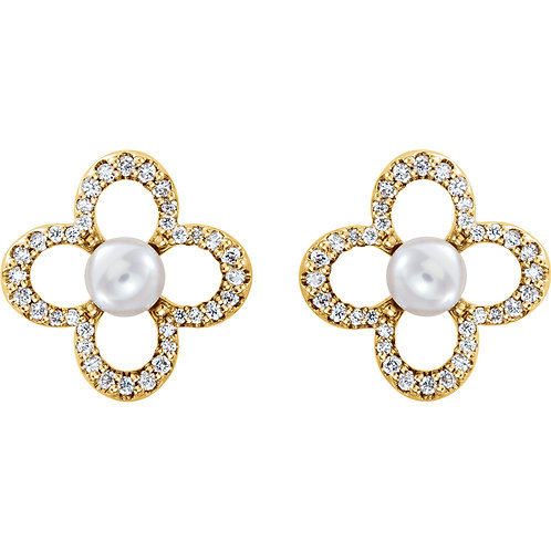 14K Yellow Gold Freshwater Cultured Pearl & 1/4 CTW Diamond Clover Earrings