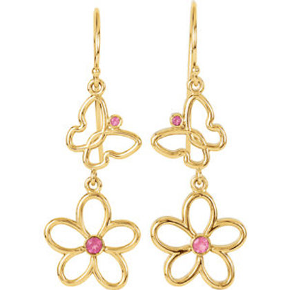 14K Yellow Gold Pink Tourmaline Floral-Inspired & Butterfly Design