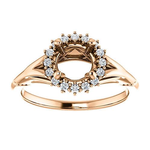 14K Rose Gold 6.5mm Round 1/6 CTW Semi-set Engagement Ring