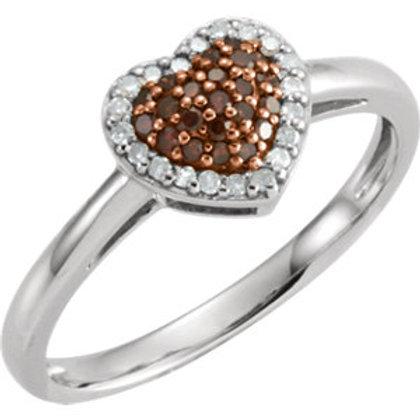14K White 1/5 CTW Diamond Heart Ring