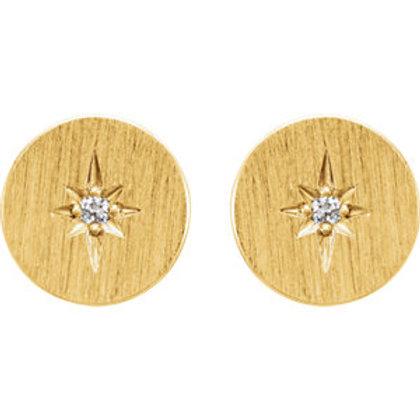 14K Yellow .02 CTW Diamond Starburst Earrings