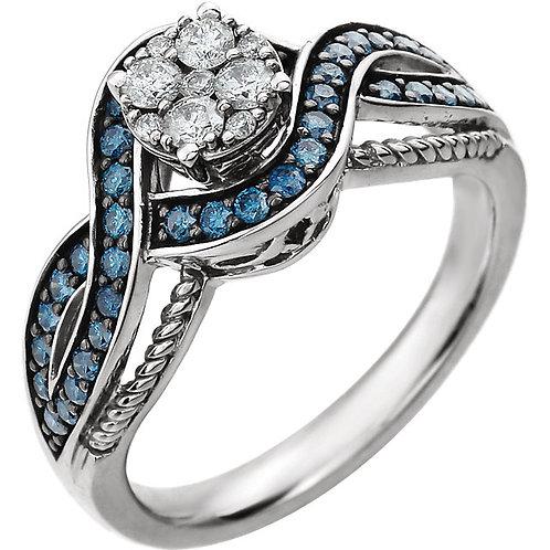 14K White 5/8 CTW Diamond Engagement Ring