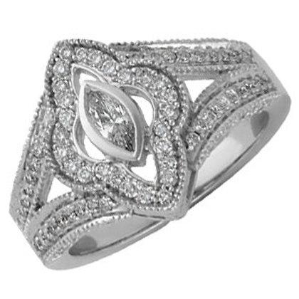 14K White 3/4 CTW Diamond Engagement Ring