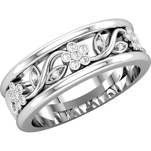 14K White 1/8 CTW Diamond Floral-Inspired Anniversary Band