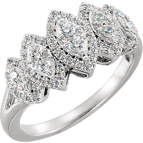 14K White 1/2 CTW Diamond Accented Engagement Ring