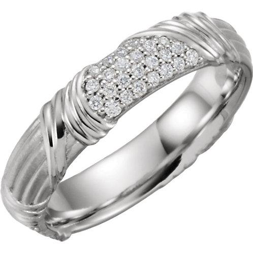 Platinum 1/4 CTW Diamond Sculptural-Inspired Band