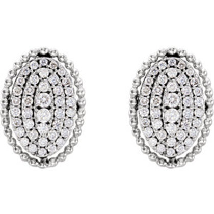 14K White Gold 1/3 CTW Diamond Oval Cluster Earrings
