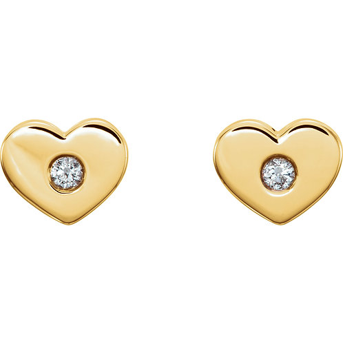 14K Yellow Gold .06 CTW Diamond Heart Earrings