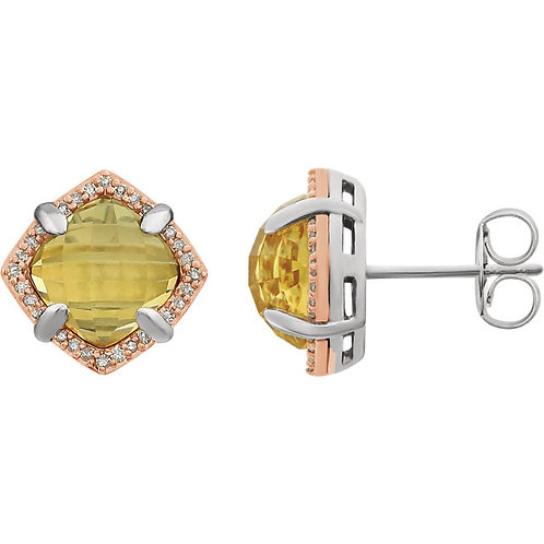 Sterling Silver Rose Gold Plated Citrine & 1/6 CTW Diamond Earrings