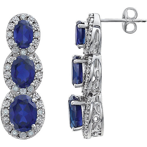 14K White Created Blue Sapphire & .07 CTW Diamond 3-Stone Earrings