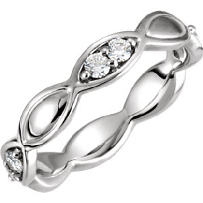 Platinum 1/3 CTW Diamond Sculptural-Inspired Eternity Band