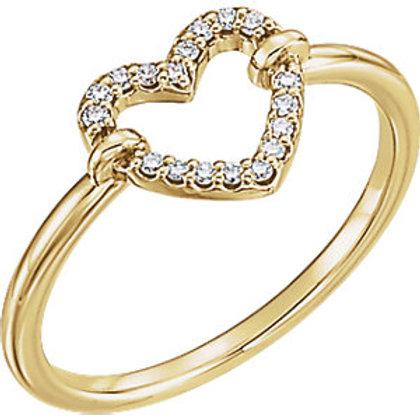 14K Yellow Gold .08 CTW Diamond Heart Ring