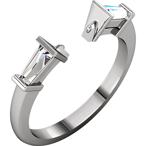 Platinum 1/3 CTW Diamond Diamond Accented Open Notched Shank