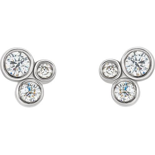 14K White Gold 1/5 CTW Diamond Geometric Cluster Earrings