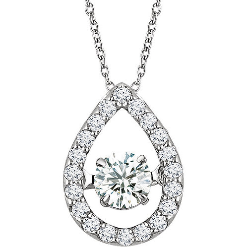 "14K White 1/3 CTW Diamond 16-18"" Mystara® Necklace"