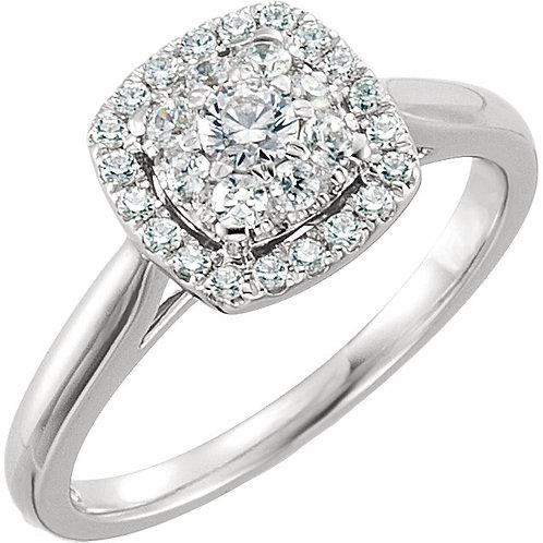 14K White 1/2 CTW Diamond Engagement Ring