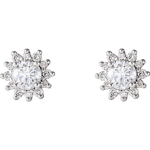 14K White Gold 1/2 CTW Halo-style Earrings