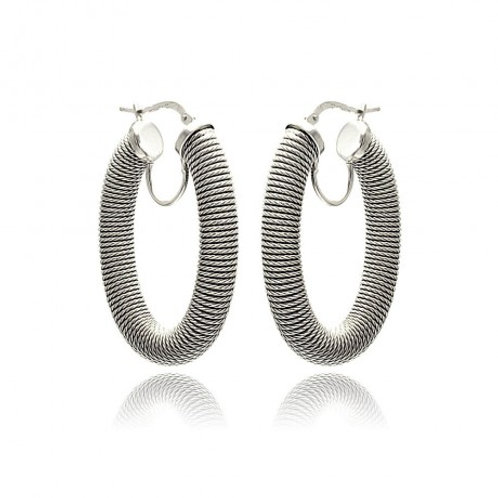 Sterling Silver Rhodium Plated Hoop Earring Sterling Silver Rhodium Plated