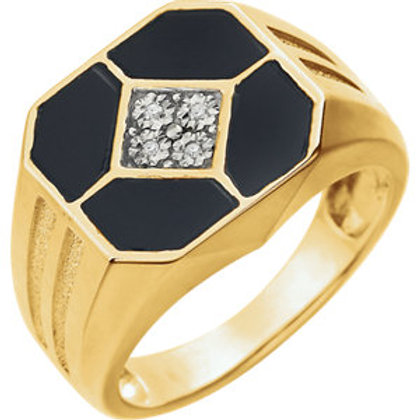 14K Yellow Men's Onyx & .02 CTW Diamond Ring