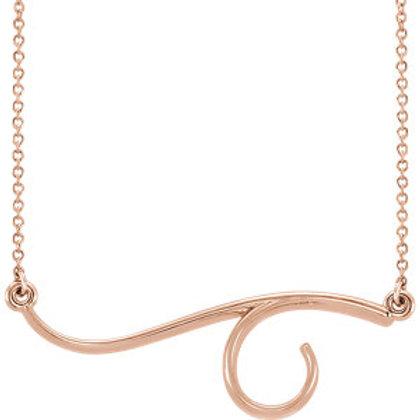 """14K Rose Gold Freeform Bar 16"""" Necklace"""