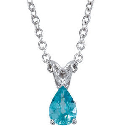 """14K White 7x5mm Blue Zircon 18"""" Necklace"""