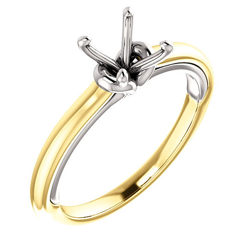 14K Yellow & White 6.5mm Round Solitaire Engagement Ring Mounting